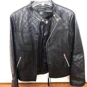 Women's black leather jacket size large
